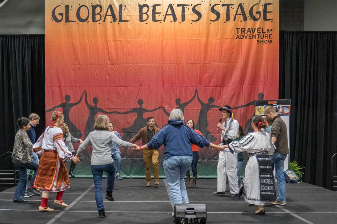 Global Beats stage at the 2018 Travel and Adventure Show