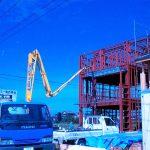 設計した重量鉄骨3階建て店舗付き住宅の土間打ち