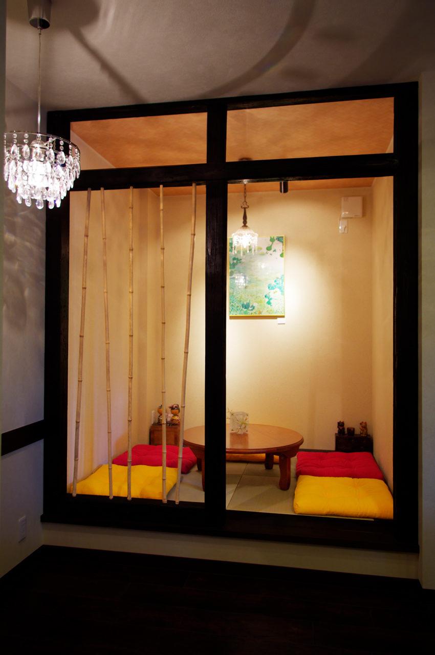 和室(座敷)席のあるギャラリー付きカフェの店舗デザイン、設計|名古屋市