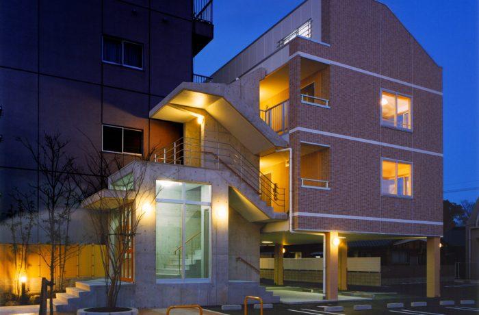 ロフト付きデザイナーズワンルーム賃貸マンションの設計・デザイン、遊休地利用をさせていただいたWILLの外観夜景