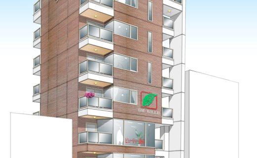 狭小敷地での賃貸マンションと賃貸オフィスの新築設計、デザイン
