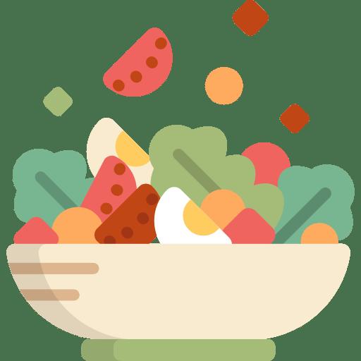 Salatschüssel gefüllt