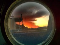 The view through porthole on my boat