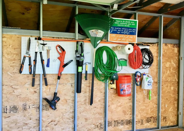 How to Hang Pegboard and Get Organized How to hang pegboard in the garage, Add pegboard to a workbench, organize your garage, organization hacks, hang pegboard int he craft room, hang pegboard in the laundry room, Best place to hang pegboard, how to hang tools in the garage, best way to hang tools, how to organize your shed, get organized #organization #garagehacks #DIY #DIYhacks #storage #diystorage DIY storage, DIY hacks