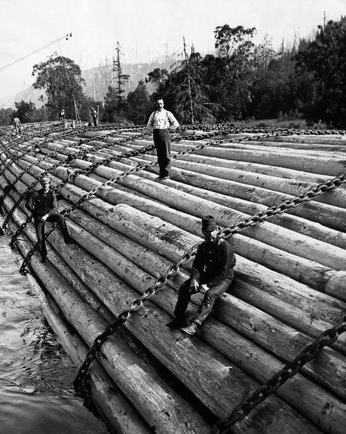 Lumberjacks Standing on Logs in River