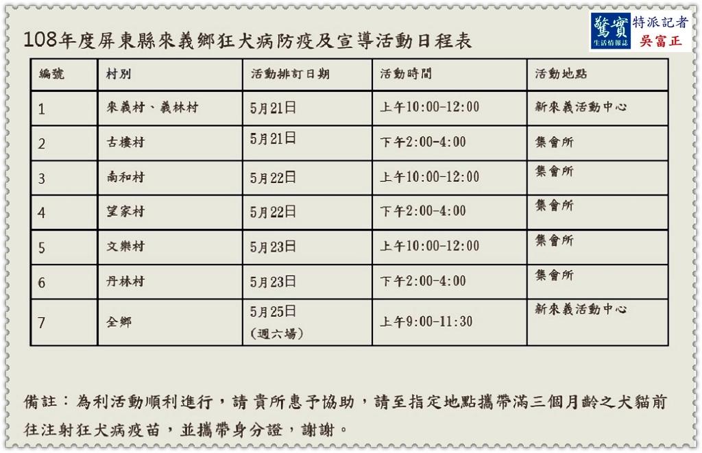 20190515d(驚實報)-屏東縣動物防疫所巡迴施打犬貓狂犬病疫苗00521-0525來義鄉01