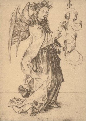 'Angel of the Annunciation' engraving after Martin Schongauer. Christmas 1976.