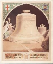 Big Ben was cast in 1858 at Whitechapel Foundry; it weighs in at 13 tons 10 cwt and 99 lbs, is 7ft 6ins height and has a diameter of 9 feet at its mouth. Illustration from a watercolour by Thomas Kimber, 1866.