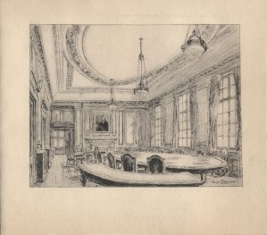 The redesigned Council Room at IMechE headquarters, by Hanslip Fletcher. Currently the room is being used as a members lounge by IMechE and IET members. Christmas 1948.