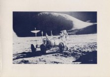 'In 1971 wheeled vehicles operated for the first time other than on Earth. The Russian Lunokhod was remotely controlled and the United States Rover was directly driven by the Astronauts. This year [1971]...Dr RR Gilruth [was honoured] with the Watt Medal for his oustanding efforts in...the US Space Programme, in particular the lunar missions...commemorate the crossing of a new frontier by mechanical engineers with this photograph of the US Lunar Rover.' Christmas 1971.