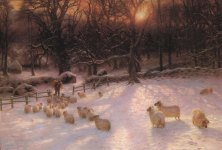 A classic winter scene, 'The Shortening Winter's Day is Near a Close' by Joseph Farquharson, 1903. Christmas card cover, year unknown.