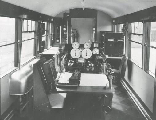 Dynamometer car interior, showing equipment table and dials