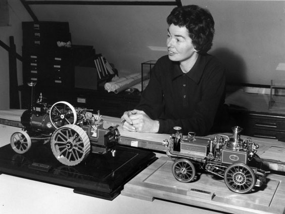 Cherry with her Allchin traction engine and Merryweather fire engine models in Jul, 1968