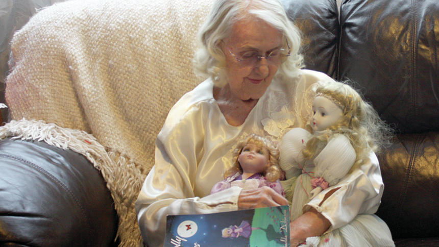 """Shelley Nelson Imelda Dickinson holds her ballerina dolls that helped inspire her poetry with their stories. At 87, Dickinson has published a collection of long poems and prose inspired by the custom dolls she's given to family and friends. """"Personolly Yours"""" is her first published work and has taken 25 years to write."""