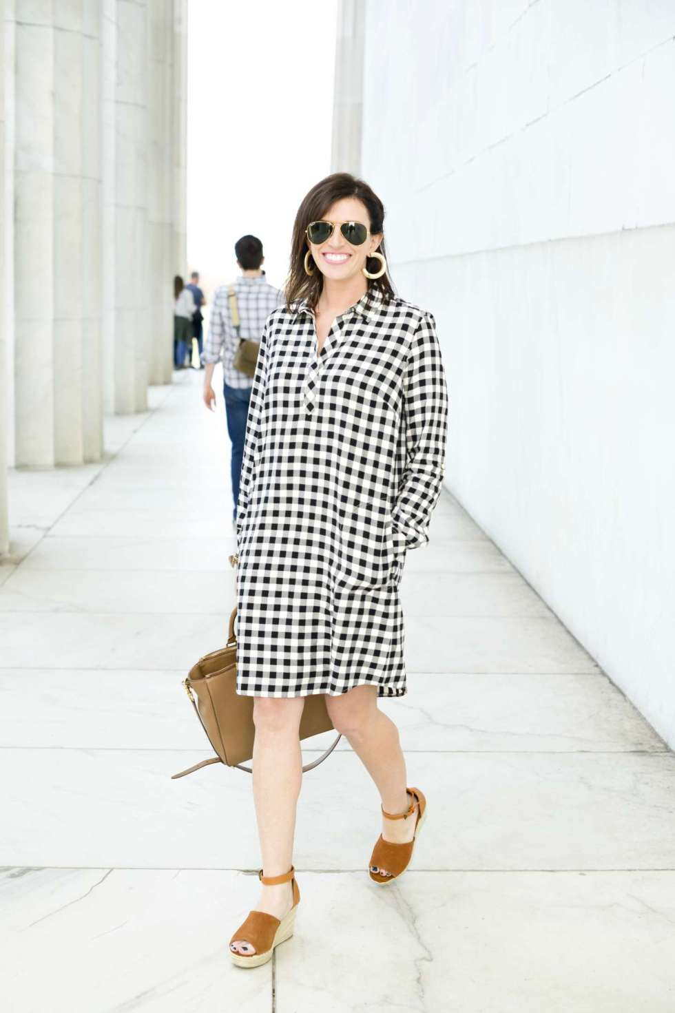 1619e760253 Gingham Shirt Dress + The Best Wedges for Spring | I'm Fixin' To