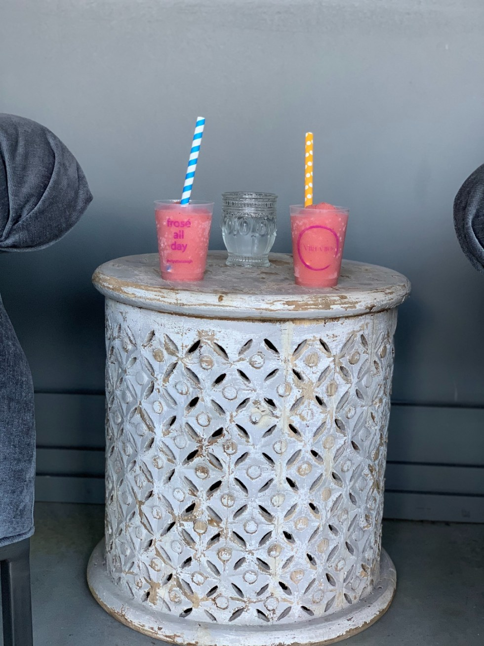 The Ultimate Girls' Day Out in Raleigh - I'm Fixin' To - @imfixintoblog | Girls Day Out In Raleigh by popular NC lifestyle blog, I'm Fixin' To: image of two clear plastic cups filled with Frose and paper straws.