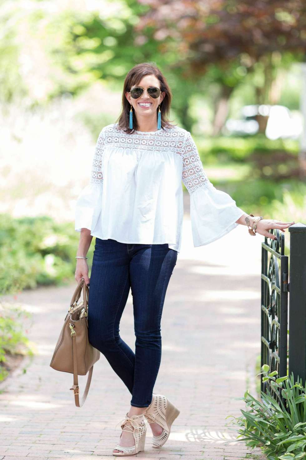 White Lace Top for Date Night at Fearrington Village - I'm Fixin' To - @mbg0112