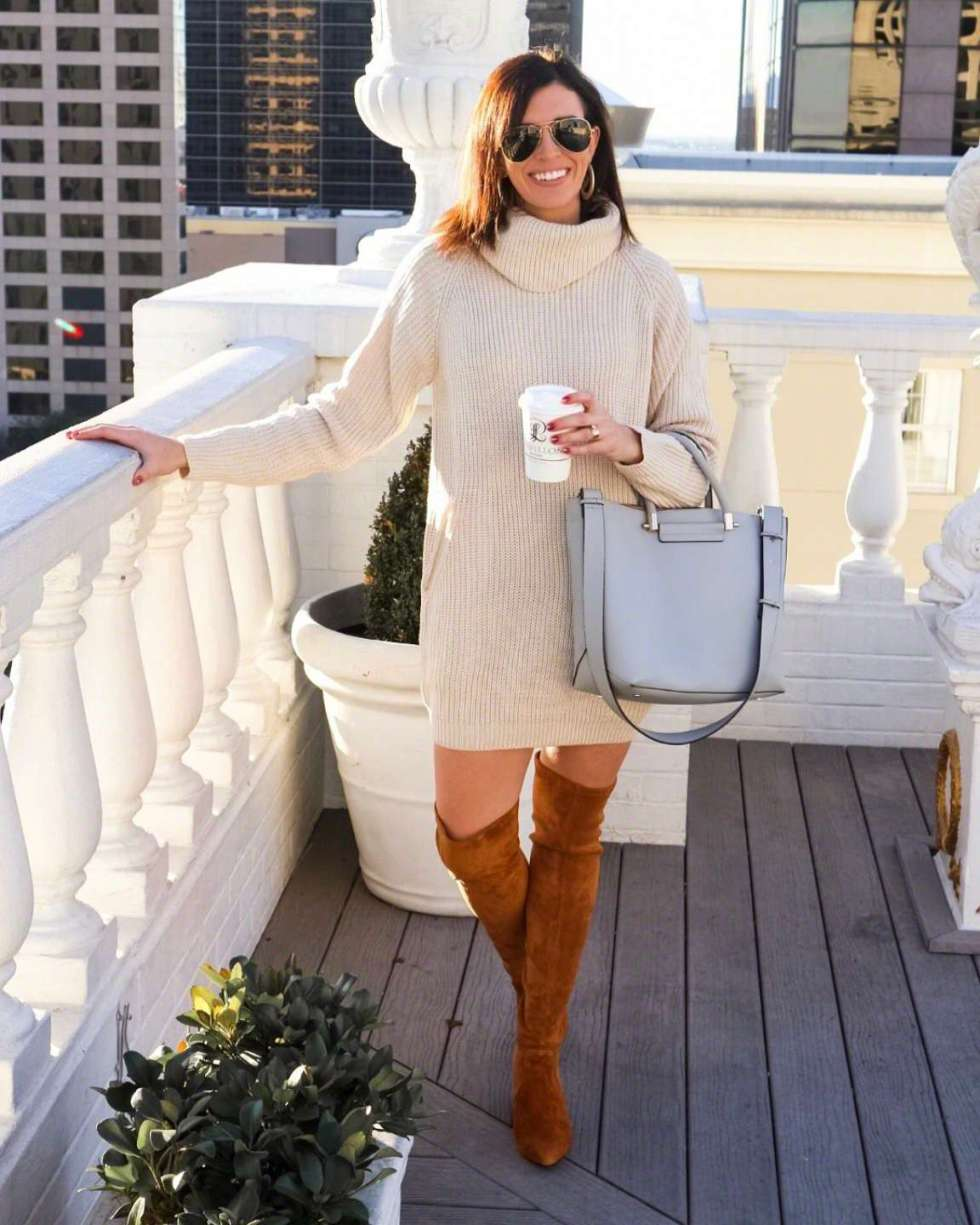 10 Most Popular Outfits from 2018 - I'm Fixin' To - @mbg0112 | Top 10 Most Popular Outfits featured by top North Carolina fashion blog: I'm Fixin' To: image of a woman wearing a Goodnight Macaroon sweater dress and OTK boots, Ray Ban aviators sunglasses, Sheila Fajl Hoops andDavid Yurman Bangle