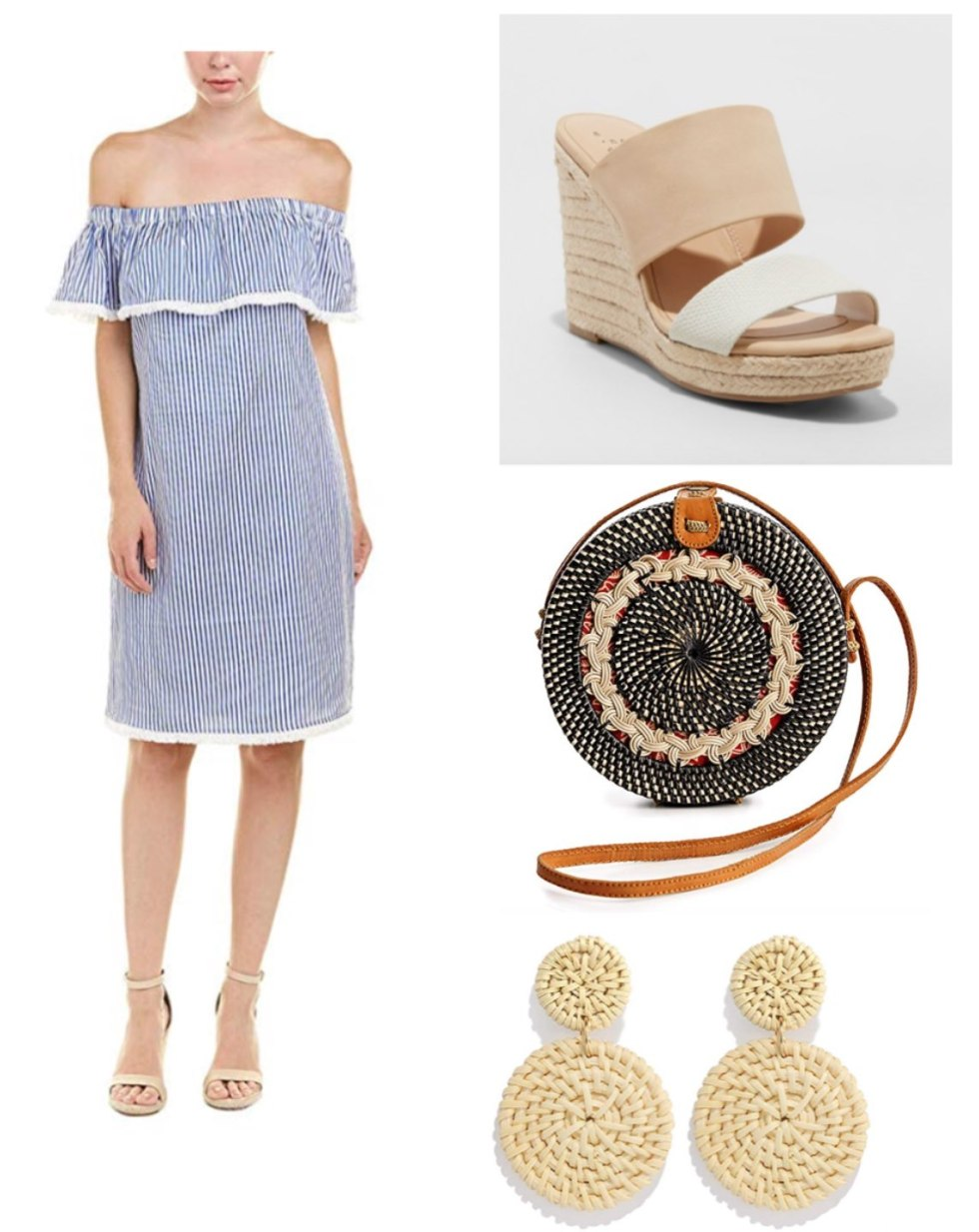 Three 4th of July Outfit Ideas to Celebrate Independence Day by popular North Carolina life and style blog, I'm Fixin' To: collage image of white and blue strip off-the-shoulder dress, Target Women's Adelina Espadrilles Slide Sandals by A New Day, Novum Crafts Rattan Bags for women, and JERTOCLE Weave Straw Double Disc Drop Earrings Boho Rattan Dangle Statement Earrings