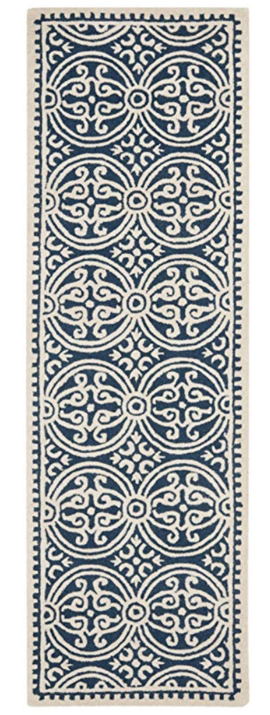 Top 10 Best Area Rugs for your Space from Amazon and Target - I'm Fixin' To - @mbg0112 | Top 6 Best Area Rugs for your Space from Amazon and Target by popular lifestyle blog, I'm Fixin' To: image of an Safavieh Navy & Ivory Runner.