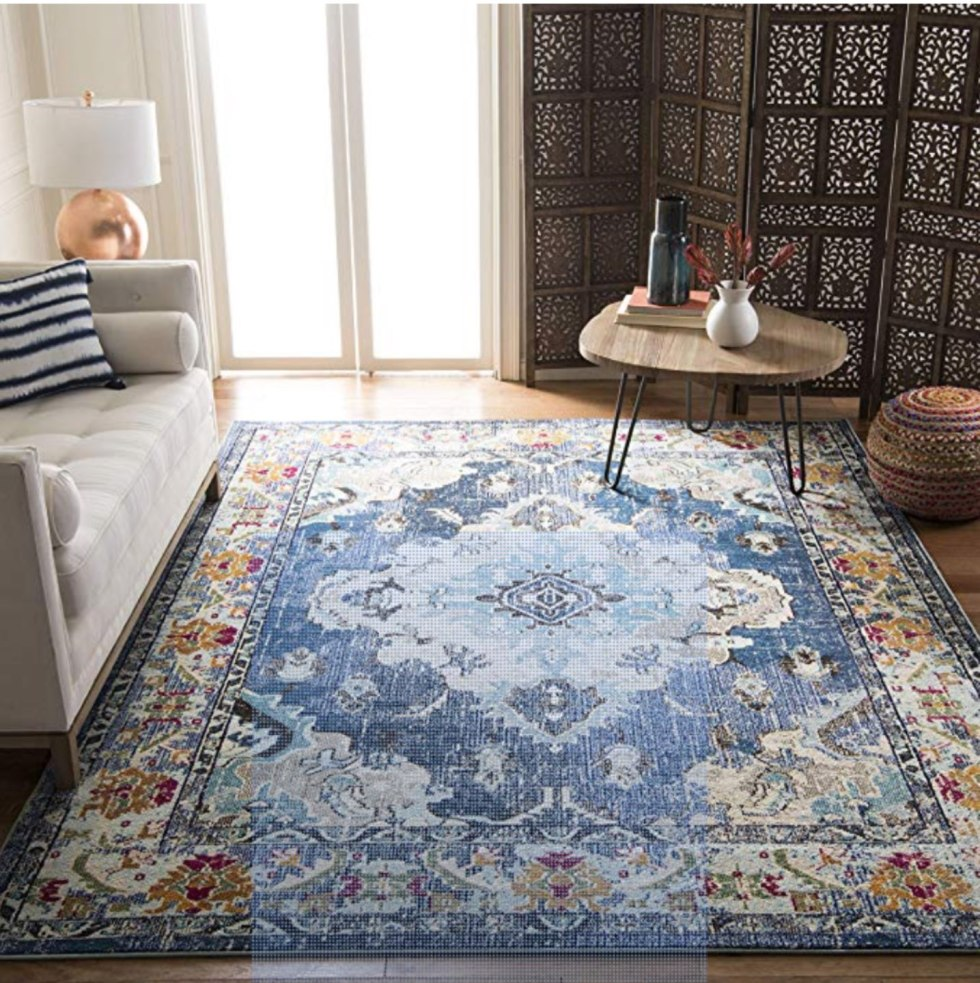 Top 10 Best Area Rugs for your Space from Amazon and Target - I'm Fixin' To - @mbg0112 | Top 6 Best Area Rugs for your Space from Amazon and Target by popular lifestyle blog, I'm Fixin' To: image of a Safavieh Monaco Navy & Light Rug.