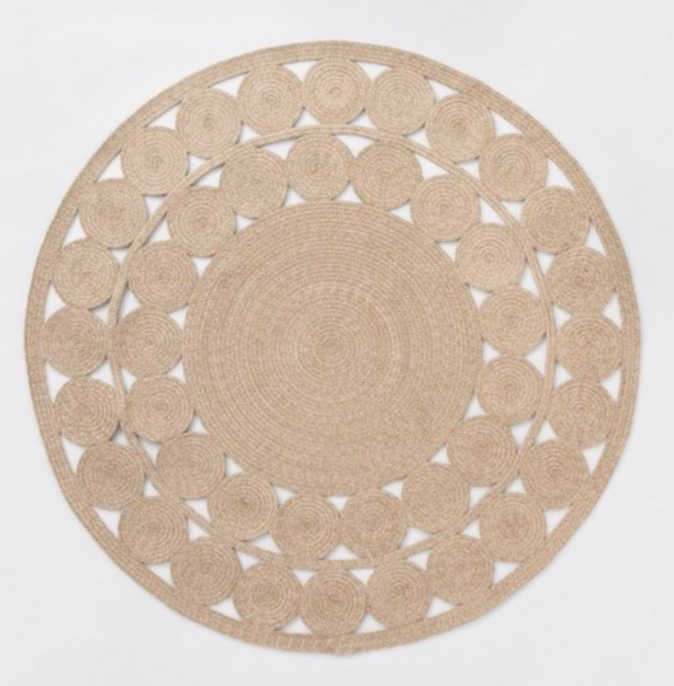 Top 10 Best Area Rugs for your Space from Amazon and Target - I'm Fixin' To - @mbg0112 | Top 6 Best Area Rugs for your Space from Amazon and Target by popular lifestyle blog, I'm Fixin' To: image of an Opalhouse 6' Round Ornate Woven Outdoor Rug
