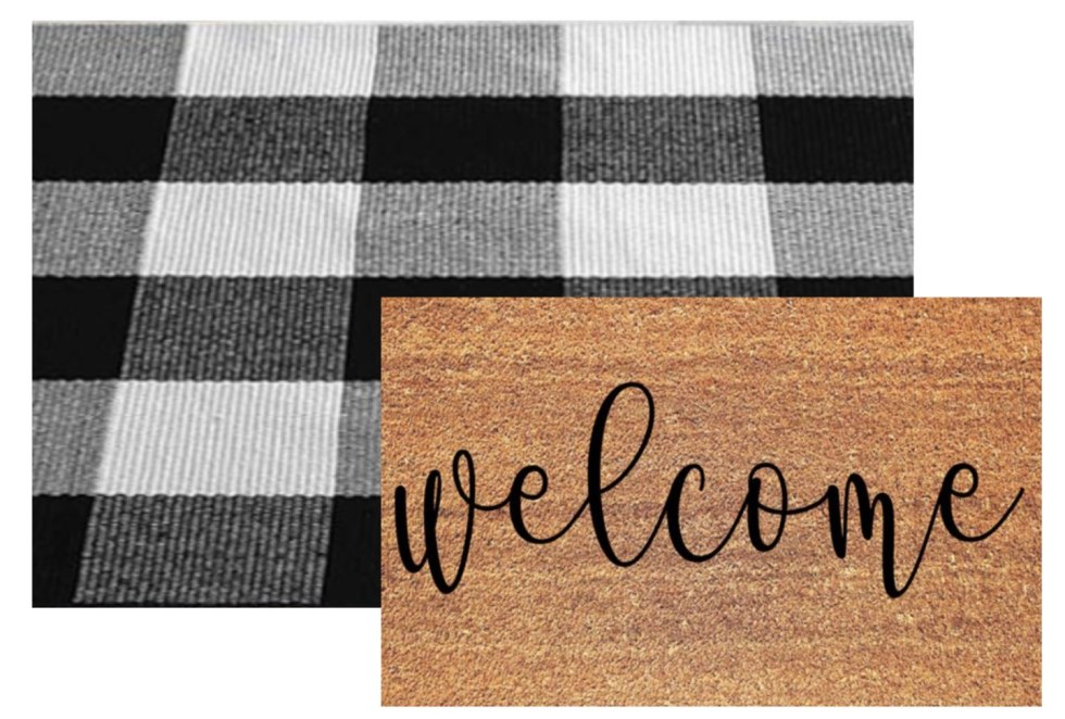 5 Layered Door Mat Combinations by popular North Carolina life and style blog, I'm Fixin' To: image of a Fox and  Cloer boutique Welcome Doormat and Levinis Buffalo Check Rug - Cotton Washable Porch Rugs Door Mat Hand-Woven Checkered Plaid Rug for Doorway.