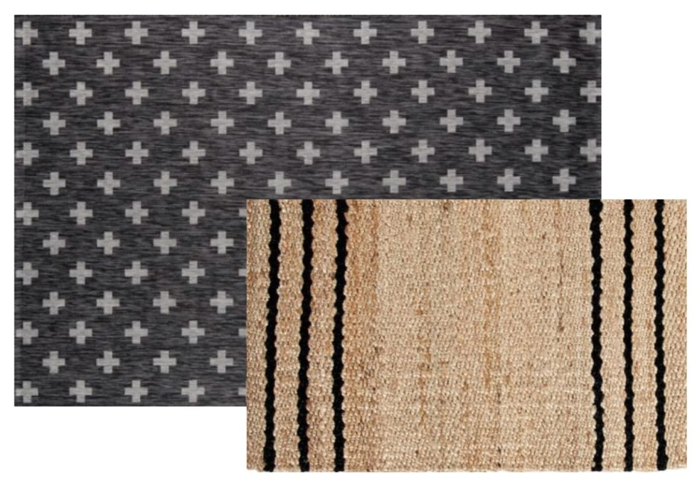 5 Layered Door Mat Combinations by popular North Carolina life and style blog, I'm Fixin' To: image of a Wayfair Umbria Charcoal/White Indoor/Outdoor Area Rug and Pottery Barn THREE STRIPE NATURAL FIBER DOORMAT.