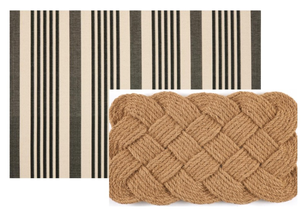 5 Layered Door Mat Combinations by popular North Carolina life and style blog, I'm Fixin' To: image of a Overstock Hand-woven Knot-ical Coconut Fiber Doormat and Safavieh Courtyard Black/Bone 4 ft. x 6 ft. Indoor/Outdoor Area Rug.