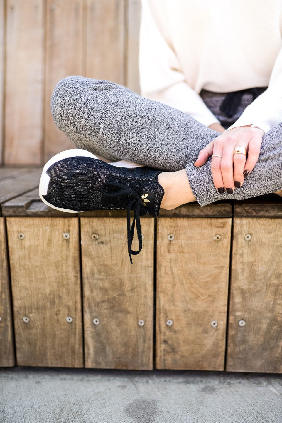 Adjusting to a New Normal by popular NC lifestyle blog, I'm Fixin' To: image of a woman wearing a Amazon GABERLY Boat Neck Batwing Sleeves Dolman Knitted Sweaters, Nordstrom Serene Cozy Mélange Jogger Pants ZELLA, and Amazon adidas Women's Cloudfoam Pure Running Shoe.