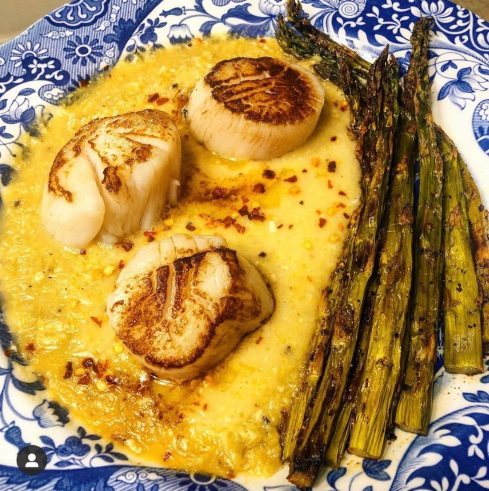 The Empowered Women Series: How 5 Friends are Making the Most of this Time - I'm Fixin' To - @mbg0112 | How to Make the Most of Your Time by popular N.C. lifestyle blog, I'm Fixin' To: image of a play of scallops and grilled asparagus.
