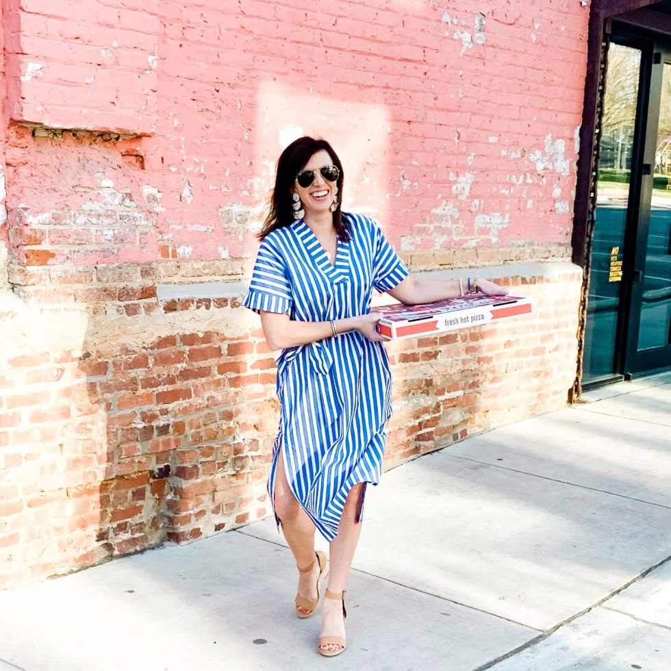 Top 5 Raleigh Restaurants with Curbside Delivery - I'm Fixin' To - @mbg0112 | Best Raleigh Restaurants by popular NC blog, I'm Fixin' To: image of a woman holding a pizza box and wearing a J.Crew Cotton poplin maxi dress in awning stripe, Target Women's Lola Ankle Strap Espadrille Wedge, Michelle McDowell Tijuana Earrings, and ShopBop Ray-Ban RB3025 Original Aviator Polarized Sunglasses.