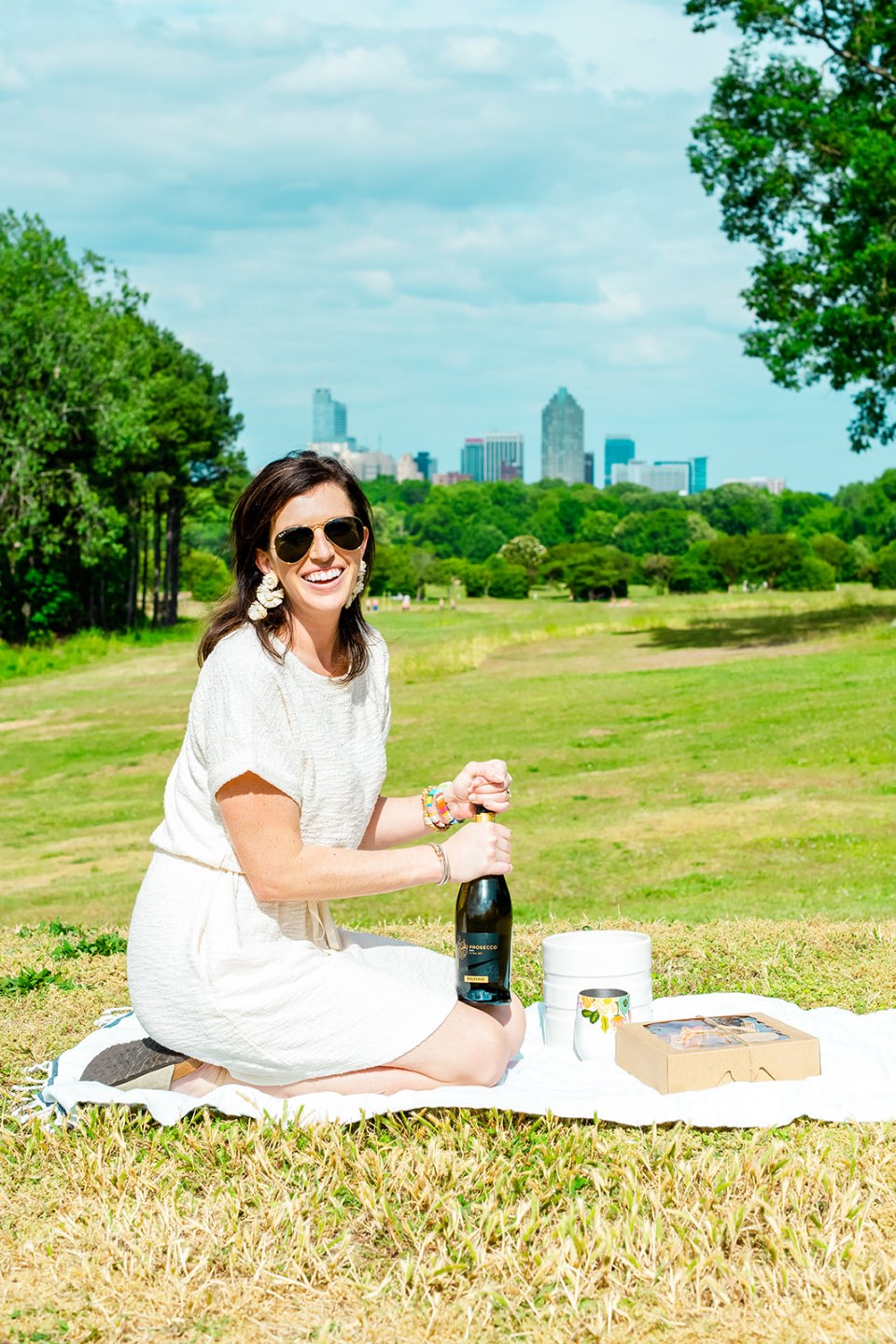 The Top 3 Places to Have a Picnic in Raleigh - I'm Fixin' To - @mbg0112   Picnic in Raleigh by popular North Carolina blog, I'm Fixin' To: image of a woman sitting on a blanket at Dorothea Dix park and holding a bottle of wine.