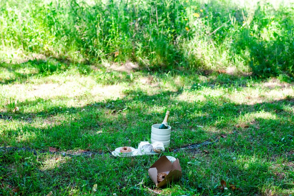 The Top 3 Places to Have a Picnic in Raleigh - I'm Fixin' To - @mbg0112 |  Picnic in Raleigh by popular North Carolina blog, I'm Fixin' To: image of a bottle of wine and some pastry goods resting on the grass.