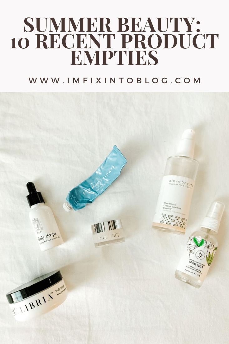 Summer Beauty: 10 Recent Product Empties - I'm Fixin' To - @mbg0112 | Product Empties by popular North Carolina beauty blog, I'm Fixin' To: Pinterest image of Equilibria Daily Drops, Lo & Behold Honeysuckle & Aloe Facial Toner, Equilibria Daily Softgels, Alpyn Beauty PlantGenius Creamy Bubbling Cleanser, and Coola Radical Recovery After-Sun Lotion.