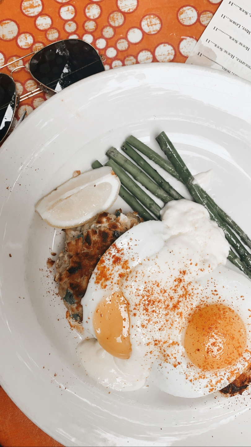 Weekend in Charlotte: Best Breweries and Places to Eat - I'm Fixin' To - @mbg0112 | Weekend in Charlotte by popular N.C. travel blog, I'm Fixin' To: image of a plate of sunny side up eggs and asparagus at 300 East restaurant.