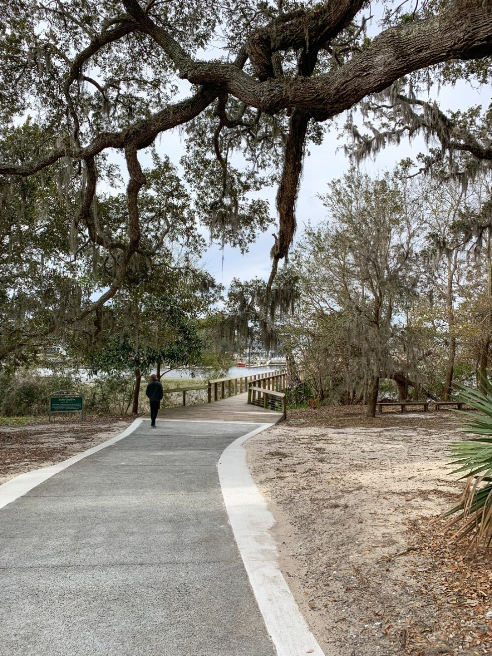 Best Places to Photography in North Carolina by popular N.C. lifestyle blog, I'm Fixin' To: image of a asphalt pathway under a tree covered in Spanish Moss at the Airlie Gardens.