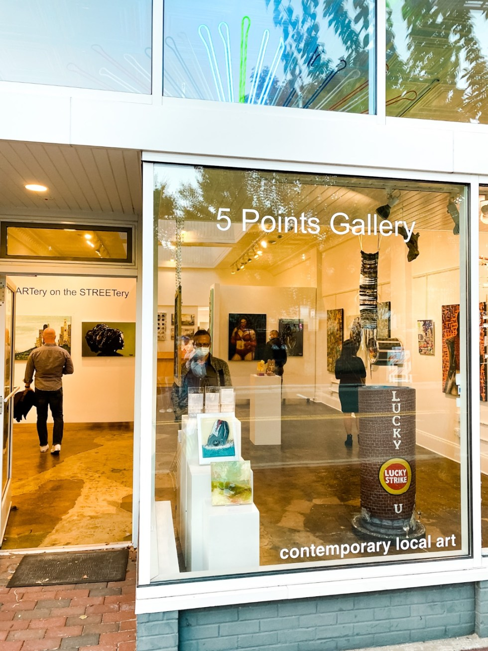 Date Night at the The Streetery in Downtown Durham - I'm Fixin' To - @mbg0112 |The Streetery in Downtown Durham by popular N.C. blog, I'm Fixin' To: image of 5 Points Gallery.