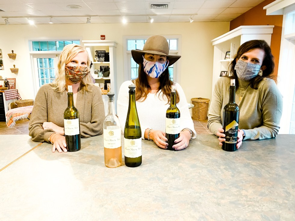 Western NC Wineries: 6 Wineries to Visit During your Next Girls' Weekend - I'm Fixin' To - @mbg0112 |Western NC Wineries by popular NC blog, I'm Fixin' To: image of a woman and two of her friends sitting infront of bottles of wine at Shelton Vineyards.