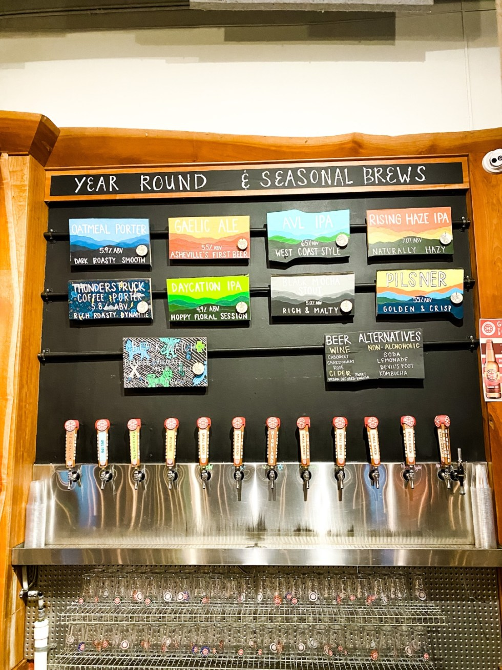 Christmas in Asheville: a Weekend Getaway During the Holidays - I'm Fixin' To - @imfixintoblog |Christmas in Asheville NC by popular NC lifestyle blog, I'm Fixin' To: image of beer on tap at Highland Brewing Co.