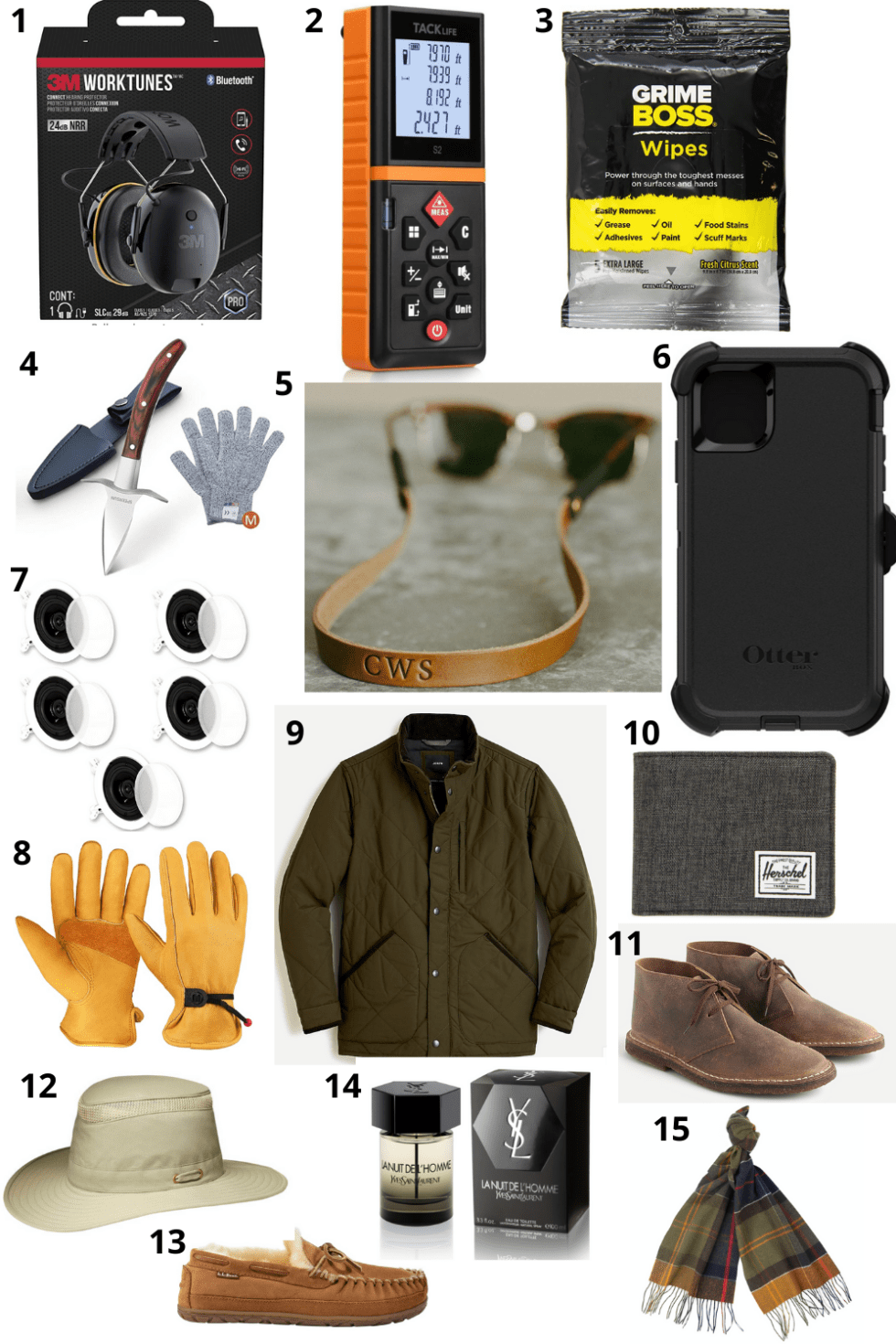 The Ultimate Holiday Gift Guide for Him: 15 Christmas Gifts He'll Love - I'm Fixin' To - @mbg0112 | Holiday Gift Guide for Him by popular NC life and style blog, I'm Fixin' To: collage image of Worktunes headphones, Grime Boss wipes, phone case, moccasin slippers, YSL cologne, plaid scarf, leather gloves,Tacklife Advanced Laser Measure,Theater Solutions In Ceiling Surround Sound Home Theater, J. Crew MacAlister boots in leather,Tilley LTM6 Airflo Broad Brim Hat,Monogrammed Sunglass Strap, quilted jacket, and Oyster Shucking Knife.