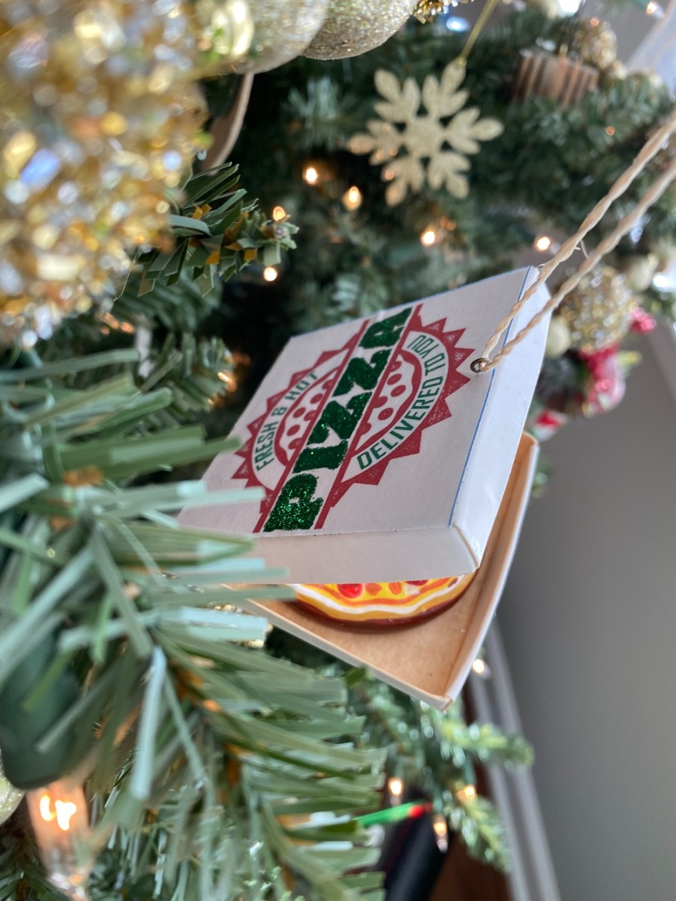 2020 Holidays: Unique Christmas Ornaments - I'm Fixin' To - @mbg0112 |Unique Christmas Ornaments by popular NC life and style blog, I'm Fixin' To: image of a pizza ornament.