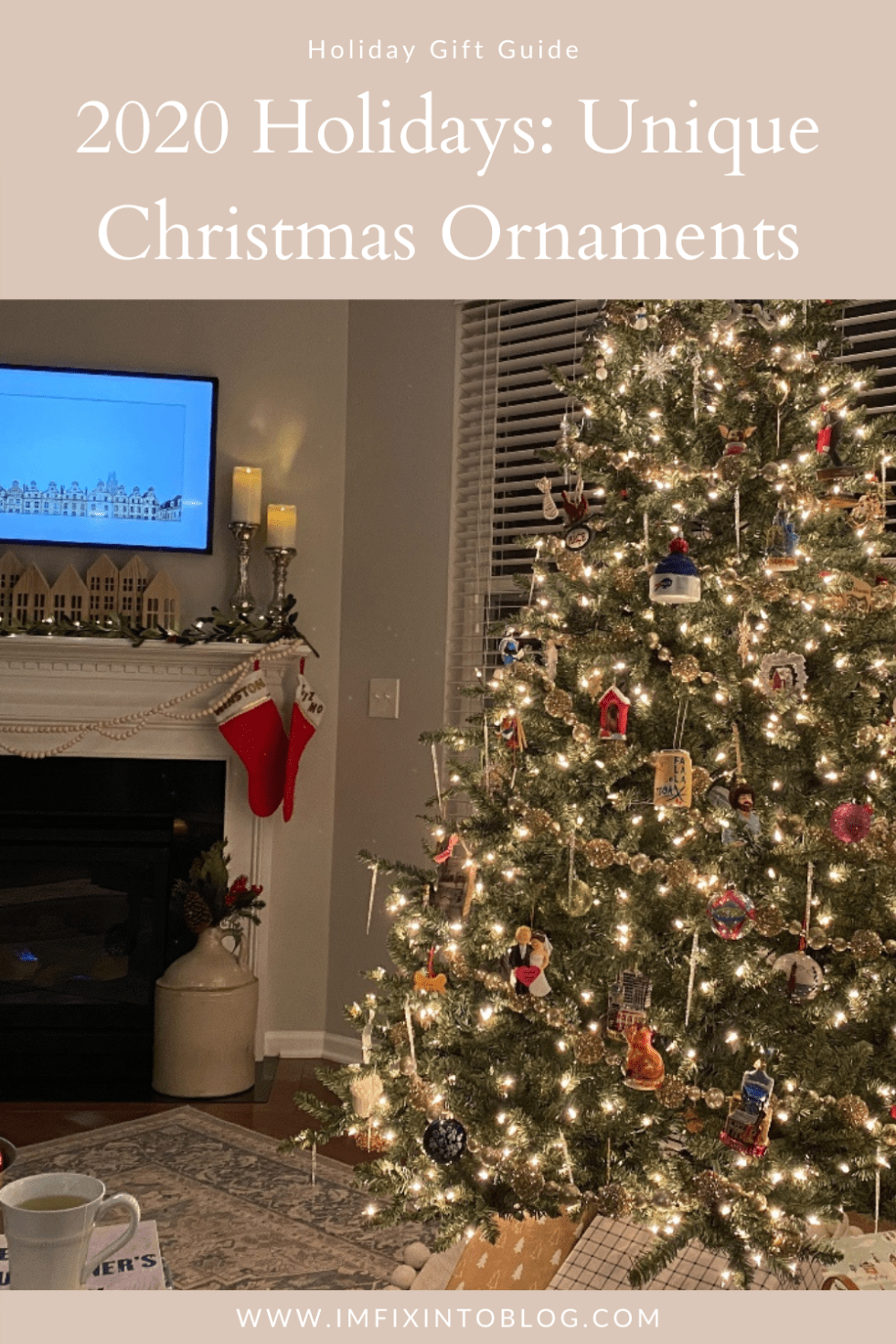 2020 Holidays: Unique Christmas Ornaments - I'm Fixin' To - @mbg0112 | Unique Christmas Ornaments by popular NC life and style blog, I'm Fixin' To: Pinterest image of a Christmas tree decorated with unique ornaments.