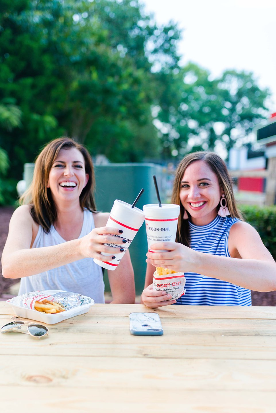 Most Popular Posts of 2020 - I'm Fixin' To - @imfixintoblog |Most Popular Posts by popular NC lifestyle blog, I'm Fixin' To: image of two women sitting together outside and eating burgers and fries.