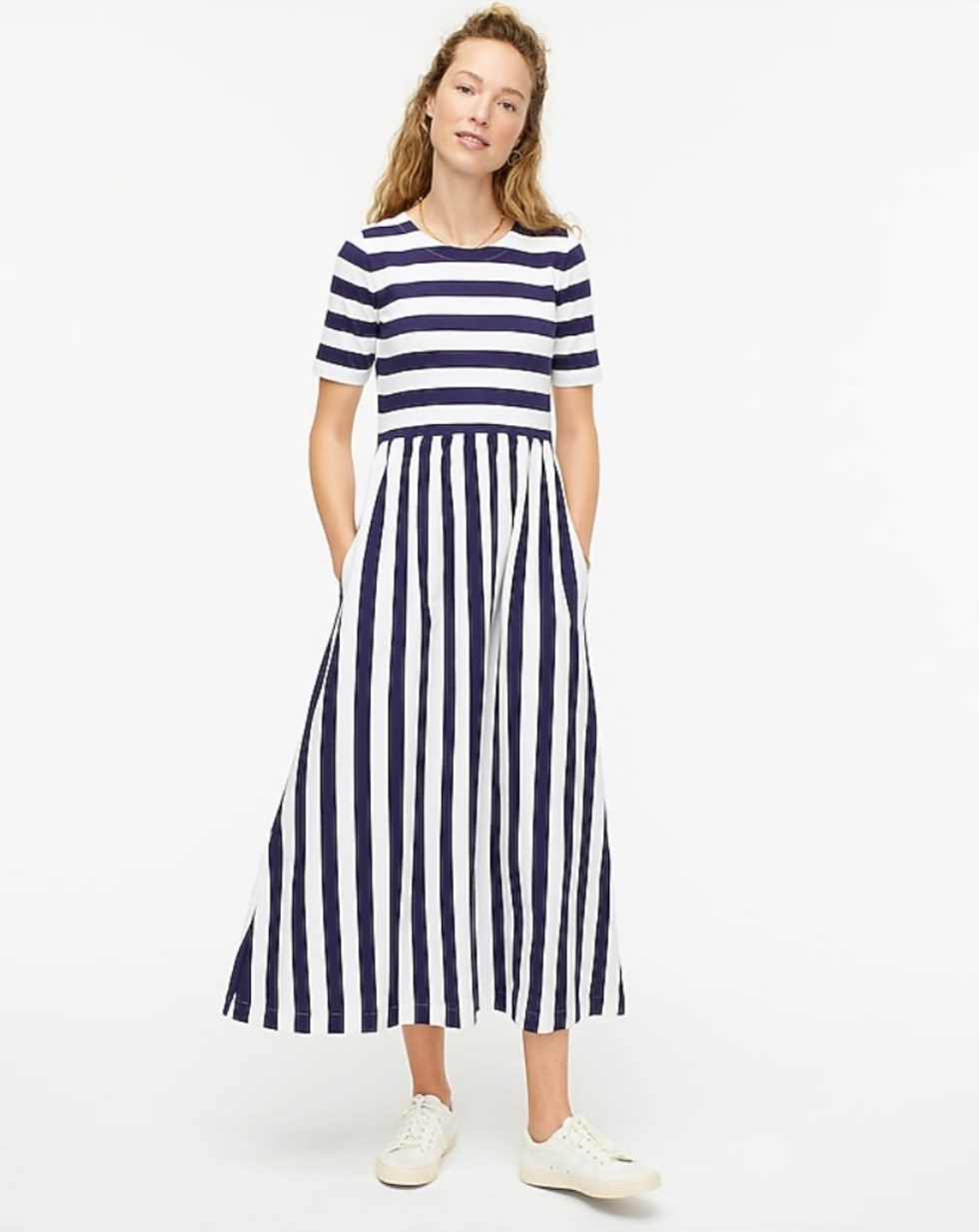 Early Spring Fashion by popular NC fashion blog, I'm Fixin' To: image of a J. Crew maxi dress in Ruby Stripe.