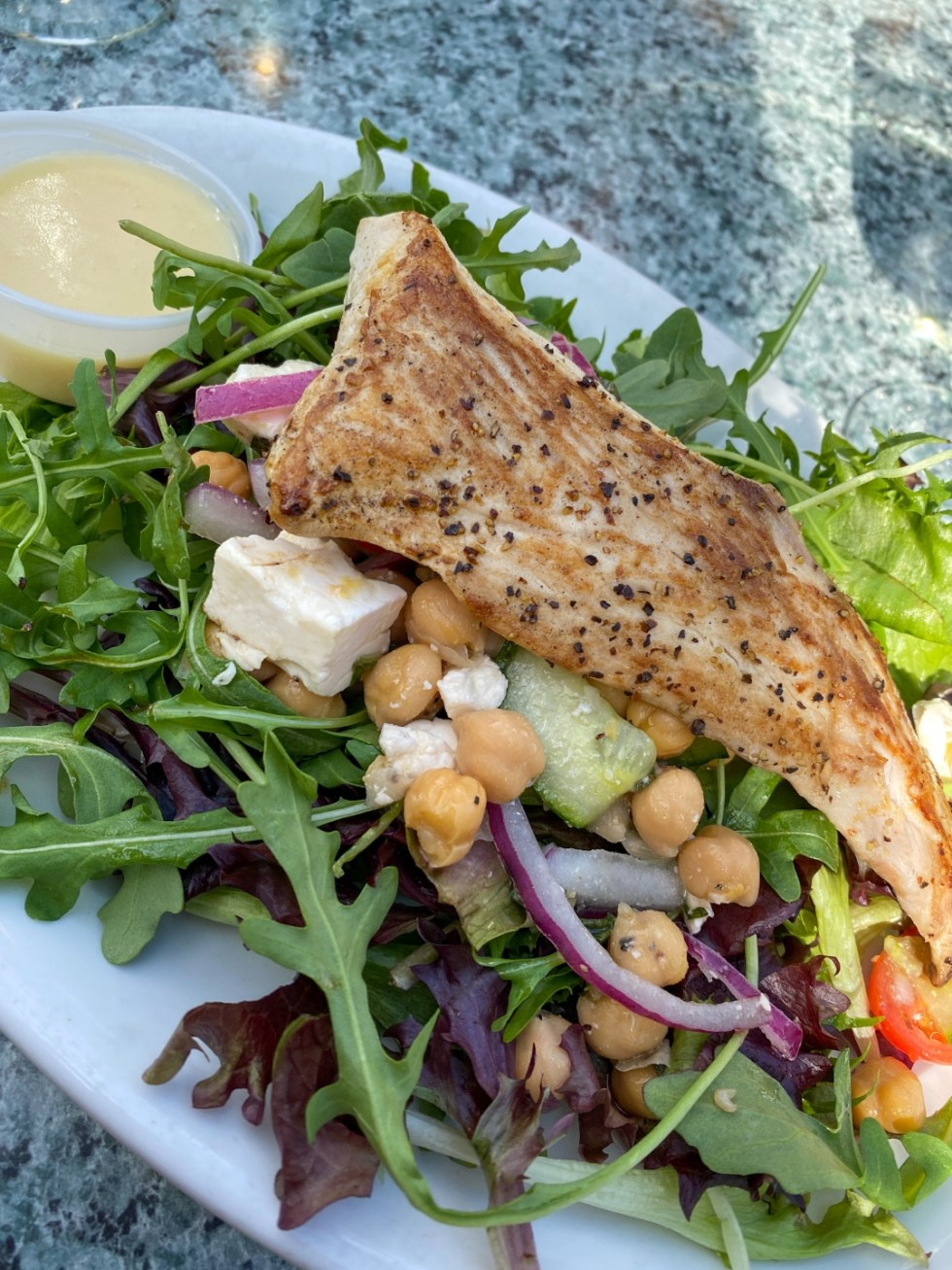 Weekend Travel: The Best Things to Do in Beaufort NC in 48 Hours - I'm Fixin' To - @imfixintoblog |Things to Do in Beaufort NC by popular NC travel blog, I'm Fixin' To: image of a salad.