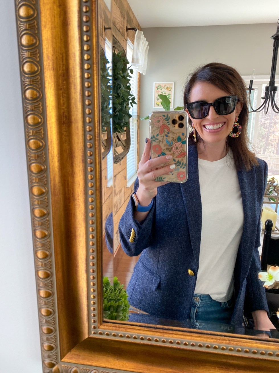 Warby Parker Eye Glasses by popular NC fashion blog, I'm Fixin' To: image of a woman wearing a pair of Warby Parker sunglasses.