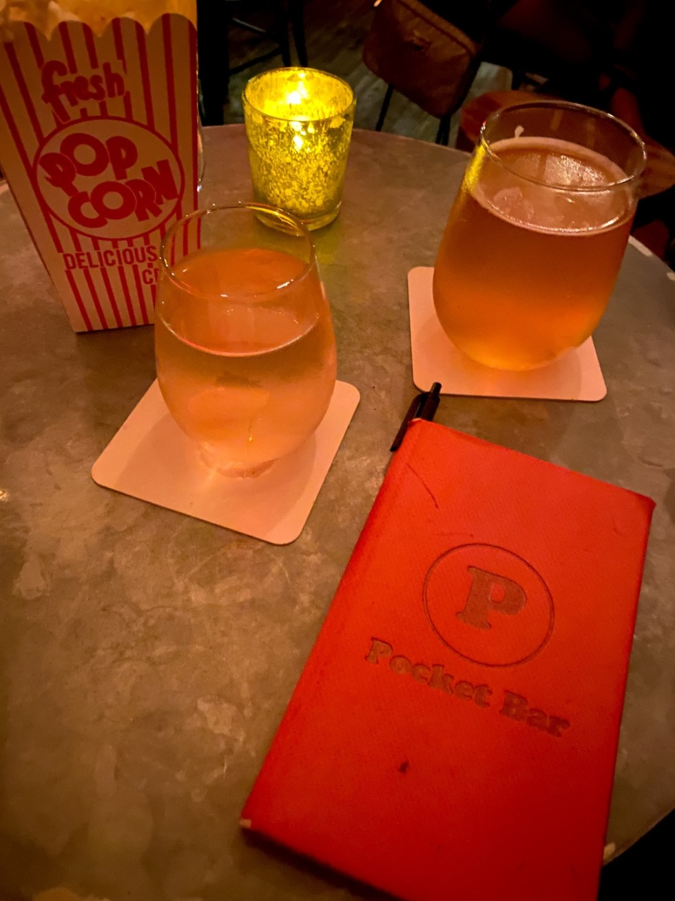 NYC Summer Weekend: Things to Do in NYC in the Summer - I'm Fixin' To - @imfixintoblog   NYC Summer Weekend by popular NC travel blog, I'm Fixin' To: image of a pocket bar menu and stemless wine glasses.