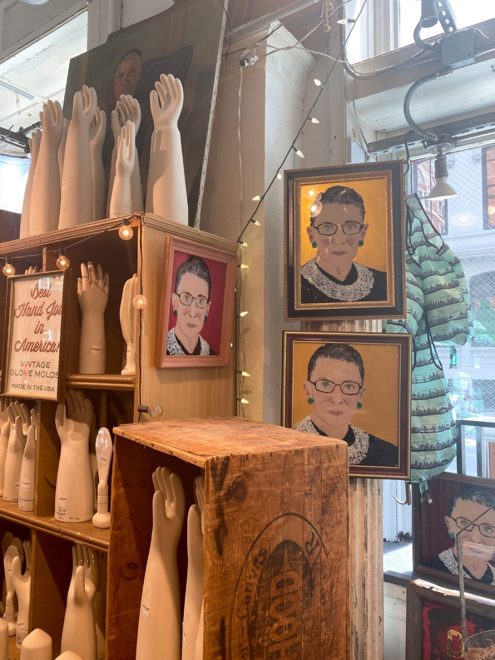 NYC Summer Weekend: Things to Do in NYC in the Summer - I'm Fixin' To - @imfixintoblog   NYC Summer Weekend by popular NC travel blog, I'm Fixin' To: image of ceramic hands and RBG prints.