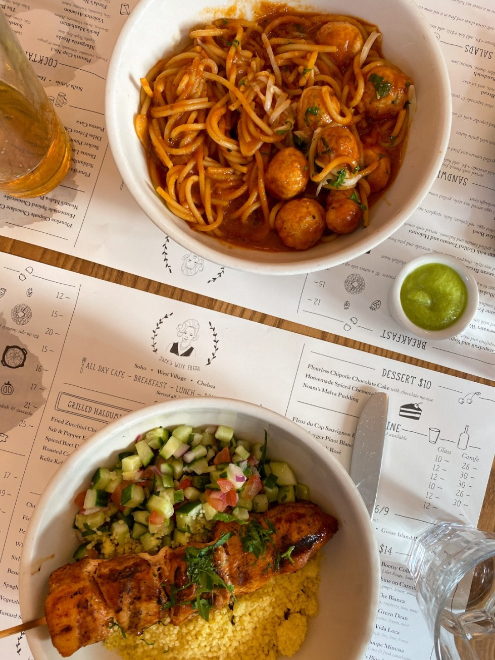 NYC Summer Weekend: Things to Do in NYC in the Summer - I'm Fixin' To - @imfixintoblog   NYC Summer Weekend by popular NC travel blog, I'm Fixin' To: image of plates of food at Jack's Wife Freda restaurant.